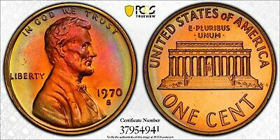 1970 S Lincoln Cent PR67RB Beautiful Toning Very Sharp True View PCGS Large Date