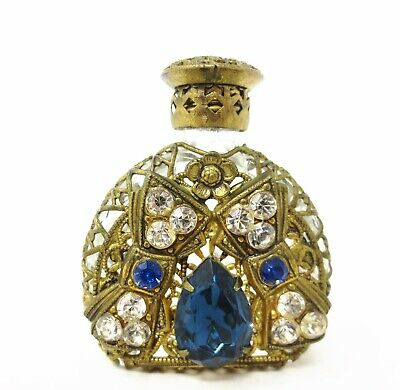 Antique Filigree Perfume Bottle - Sapphire Blue and Clear Stones - Bow - Dauber
