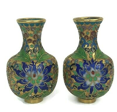 Pair Of Vintage Mini Chinese China Cloisonne Enamel Vases Brass Metal Blue 3""