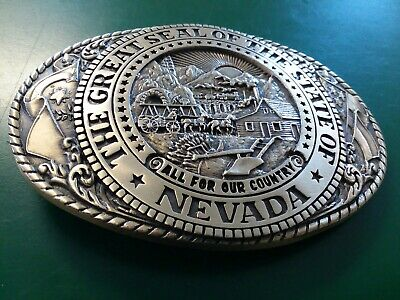 Tony Lama Belt Buckle Seal of Nevada State Series Collection DS