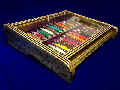 Pocket Knife Display Case Collectors Vintage Knives Counter Top Display