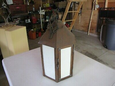 Antique Slag Glass Copper Hanging Light 6 Sided, Tudor, Mission, Arts And Crafts