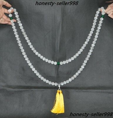 """Rare Natural White Crystal Carving Temple Masters Pray Bead""""六字箴言""""Amulet Necklace"""