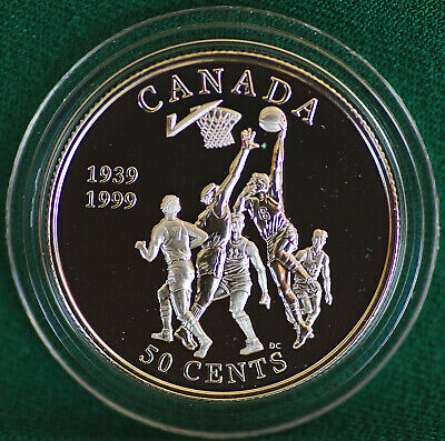 1999 Canada 50 cent Basketball invention - Naismith Sterling silver - metal case