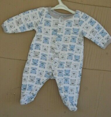 Nannette 0- 3 Mos Baby Boy White With Blue Print Dogs Footed Bodysuit/sleepsuit