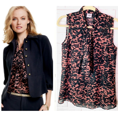 c8736d3f21e6f4 CAbi Women's Blouse Size Small 9 to 5 Tie Neck Top Shirt Animal Print Black  Pink