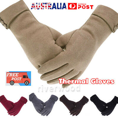 Women Fleece Lined Thermal Gloves Touch Screen Winter Warm Full Finger Mittens