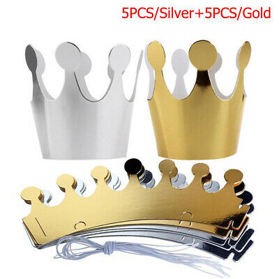 10 x  Silver Gold Crowns Hats Kids Adults Birthday Princess Party Accessories