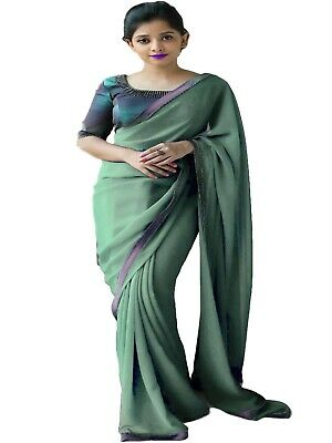 Georgette Ethnic Designer Turquoise Lace New Work Wedding Party wear Saree