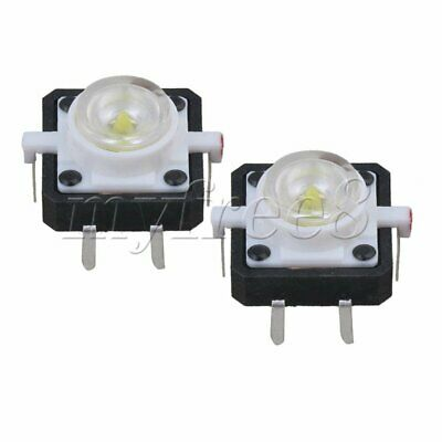 White 4Pin Tactile Push Button Switch Tact With LED 12mm Length Pack of 20