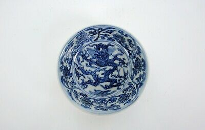 A Blue and White 'Dragon' Saucer