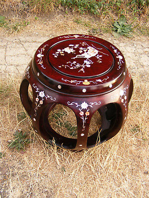 Antique Rosewood Chinese Oriental Pearl Inlay Peacock Drum Style Stool Table