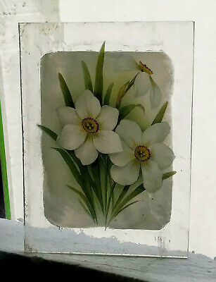 Stained Glass Narciissus flower - Kiln fired old glass fragment pane!