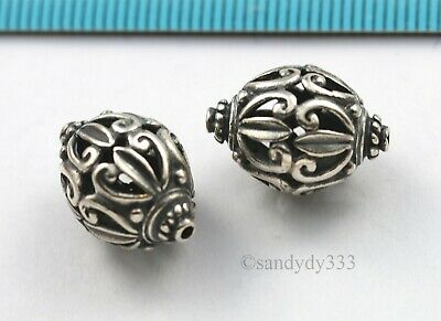 1x BALI OXIDIZED STERLING SILVER FLOWER FOCAL OVAL SPACER BEAD 12mm 16.6mm N491
