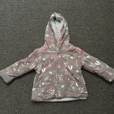 Sprout 00 Reversible Jacket - Grey Stripes And Woodland Animals