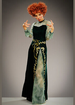 Womens Hocus Pocus Style Green Halloween Witch Adult Fancy Dress Costume Green