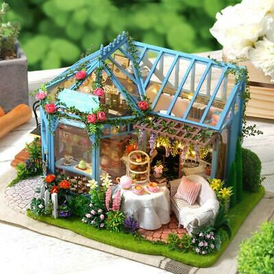 DIY Doll House Miniature Kit Holiday Japanese Tea Style Cabin With Rose Garden