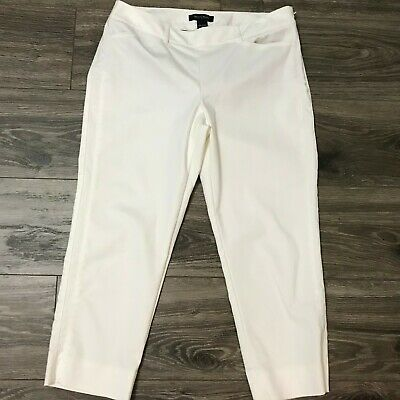 White House Black Market The Slim Ankle Pants  Ice White sz 8