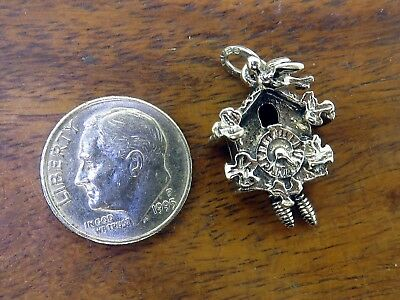 Vintage silver WOODEN CUCKOO CLOCK MOVABLE PENDULUM charm BEAU ONE OF A KIND