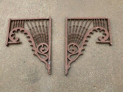 Antique Pair of Victorian Architectural Gingerbread House Gable Spindle Corners