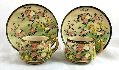 PAIR OF 19th CENTURY JAPANESE SATSUMA HAND PAINTED CUPS & SAUCERS