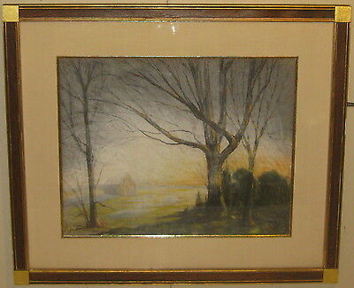 Vintage HAROLD SAXTON BURR Farmhouse at Dawn OLD LYME Landscape Pastel Painting