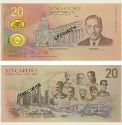 2019 Singapore Bicentennial $20 Single Note Commemorative Rare (WITH FOLDER)