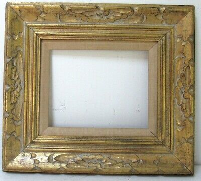 ANTIQUE HAND CARVED GILDED WOOD FRAME FOR PAINTING  10 X 8  outside 18 x 16 inch