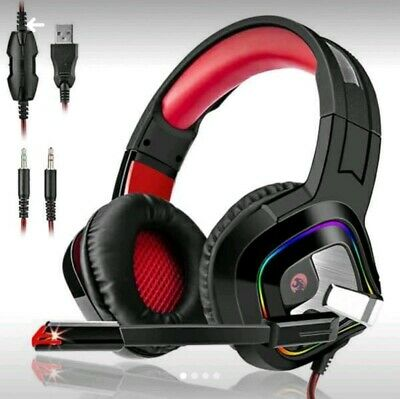Auriculares Gaming Estéreo Cascos Gaming Adjustables con LED y Micrófono...