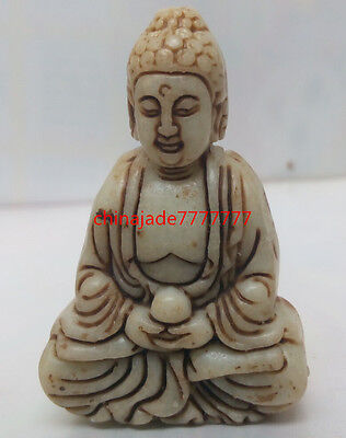 Chinese ancient jade hand-carved pendant of  buddha very good worth collecting !