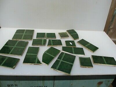 Vintage Ceramic Tiles Architectural Antique Tile Green BROKEN 6""