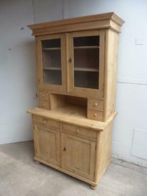 A Lovely Victorian Antique/Old Pine 2 Piece Kitchen Dresser To Paint/Wax