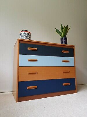 Super Mid Century Light Wood & Blue Chest of Drawers Vintage Retro 1950s 1960s