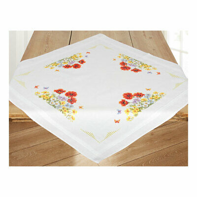 Embroidery Kit Tablecloth Wild Flowers Design Stitched on Cotton Fabric  80x80cm