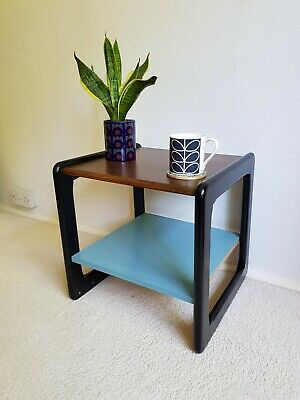 Super Mid Century Bedside Display Table Plant Stand Vintage Retro Blue 60s 70s