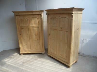 A Rare Pair of Antique/Old Pine Adjustable Storage Cupboards to Wax/Paint