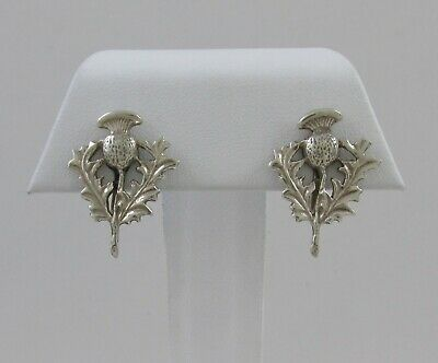8b6e8161c Vintage Danecraft Sterling Silver Non-Pierced Thistle Design Screw Back  Earrings