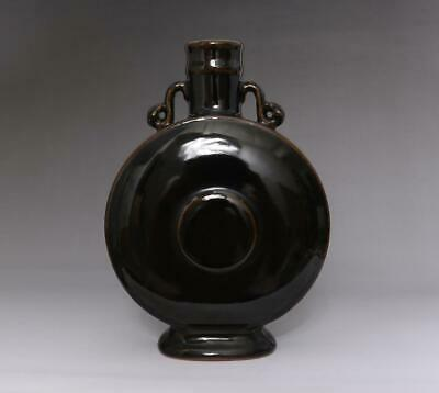 Old Rare Chinese Black Glaze Flask Vase With Kangxi Marked (E178)