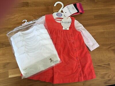 Baby Girls 3-6 Months Marks & Spencers dress & tights & John Lewis Vests New Bun