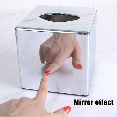J JACKCUBE DESIGN JackCubeDesign Overall Acrylic Mirror Square Tissue Box Cover