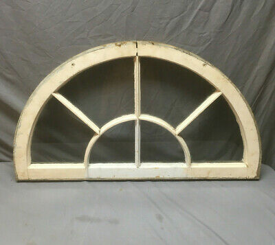 Antique 6 Lite Arched Top Half Round Window Sash Sunburst 23x40  Vtg 337-19L