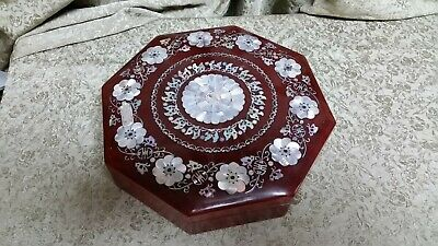 """Ornate Wood And Mother Of Pearl 10.5"""" Octagon Box W/ Removable Dishes"""
