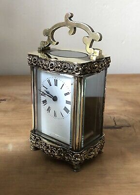 Antique Ornate Doucine French Carriage Clock Ormolu Mountings Superb Details