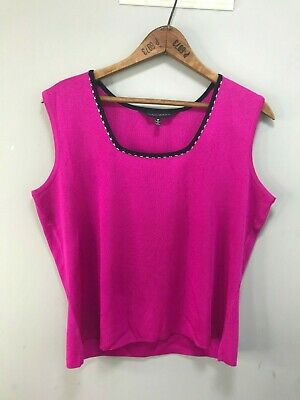 Ming Wang Pink w Black Trim Embellished Sleeveless Shell Top Blouse Sz M NWOT