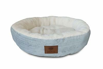 "American Kennel Club AKC Casablanca 22"" Round Solid Pet Bed, Light Blue"
