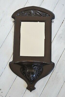 Antique Art Nouveau Mahogany Mirror With Carved Face,Wall Mirror,Antique Mirror