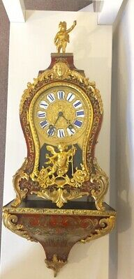 Large Antique Red Shell Boulle Clock On Wall Bracket By Samuel Marti. C1850