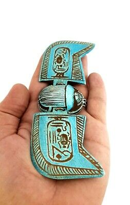 Unique Winged scarab Ancient egyptian Stone Rare Beetle Amulet W/T Heroghliphcs