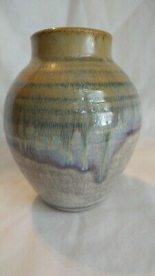 Arts Crafts Revival Double Drip Glaze Studio Pottery Vase Signed WOW