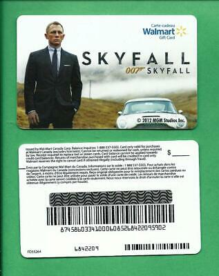 2012 Walmart Canada 007 Skyfall James Bond Movie Gift Card No Value